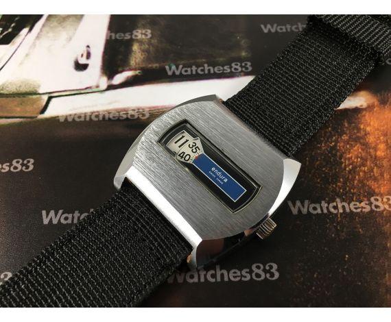 Endura swiss made Reloj vintage suizo de cuerda salto de hora azul OVERSIZE