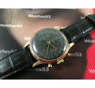 Agefa vintage swiss manual winding chronograph watch plaqué OR 17 jewels black dial *** SPECTACULAR ***