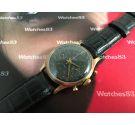 Agefa vintage reloj de cuerda cronógrafo Suisse plaqué OR 17 jewels dial negro