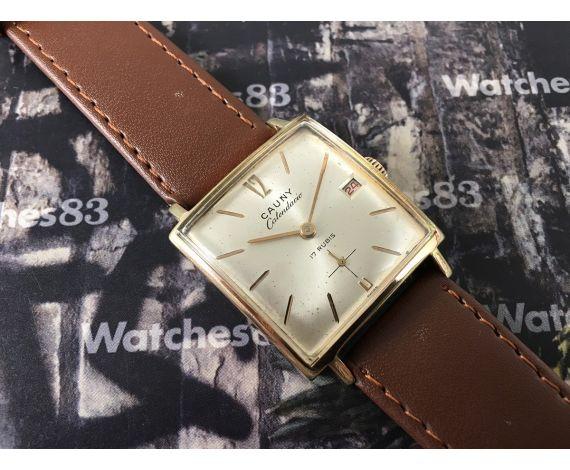 Cauny Prima Calendario vintage swiss manual winding watch Plaqué OR