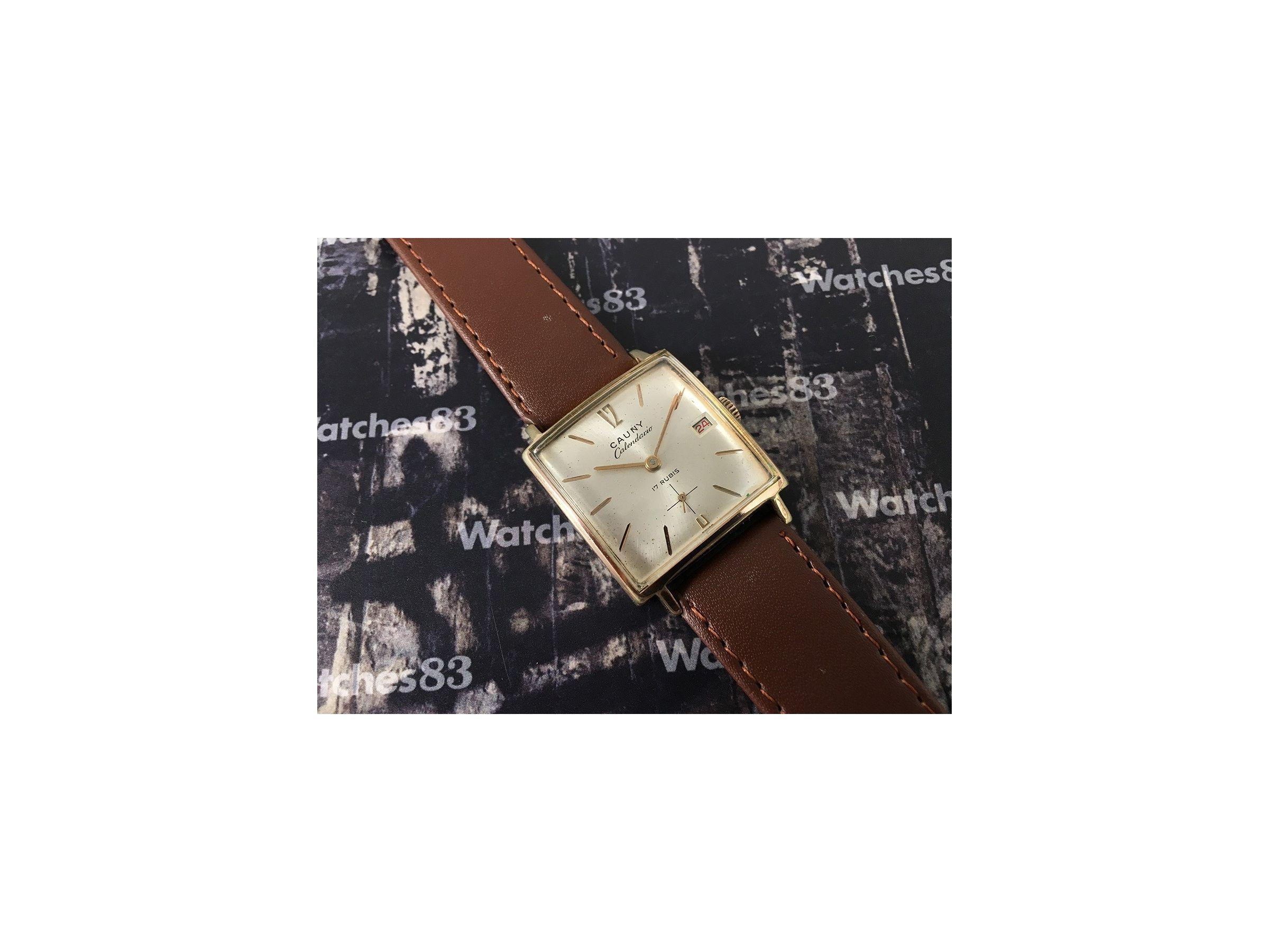 Cauny Prima Calendario Reloj Antiguo Suizo De Cuerda
