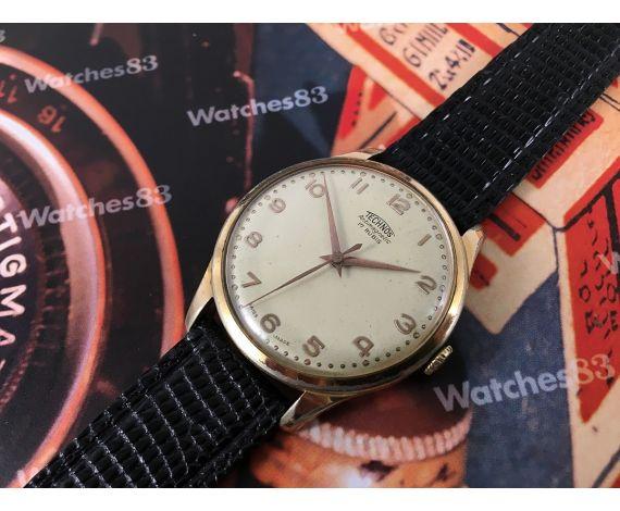 Technos reloj suizo antiguo de cuerda *** Oversize 38,5 mm *** Plaqué OR