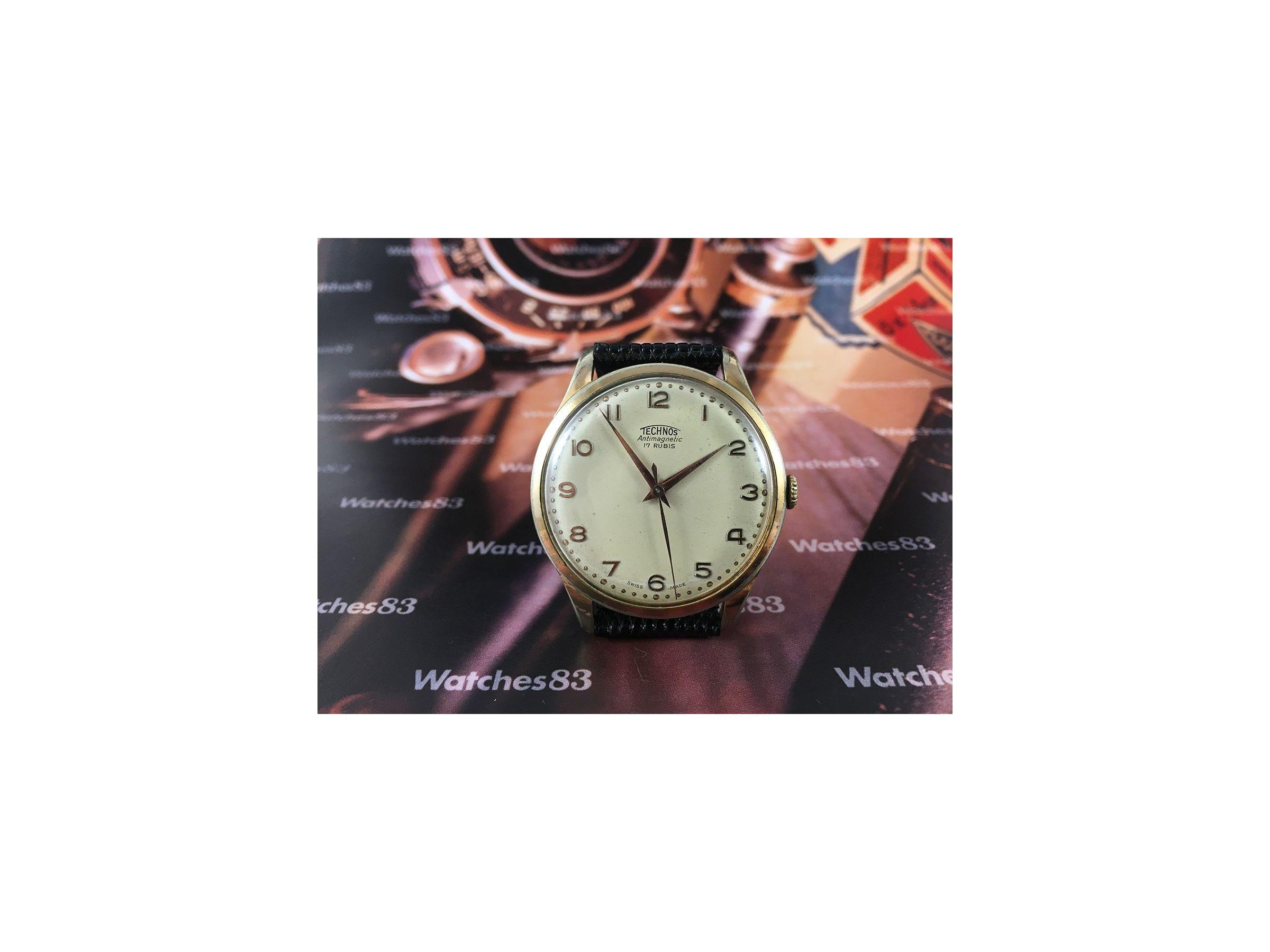 Technos vintage swiss hand winding watch oversize 38 5 mm plaqu or technos vintage for Technos watches