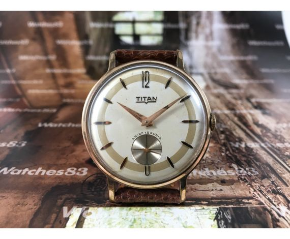 Precioso reloj suizo antiguo de cuerda Titan plaqué Or 20m COLECCIONISTAS