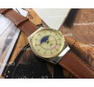 Vintage manual winding swiss watch Alex moonphase and calendar