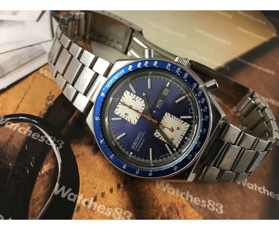 Seiko Kakume Blue chronograph vintage automatic watch Ref 6138-0030 JAPAN A