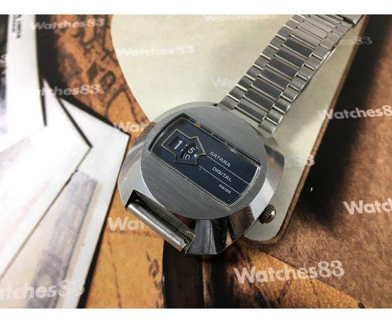 Satara Digital vintage swiss manual winding jump hour watch OVERSIZE