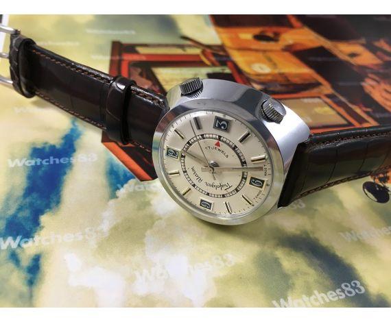 Reloj alarma suizo antiguo de cuerda Trafalgar 17 jewels Gran diámetro 41mm
