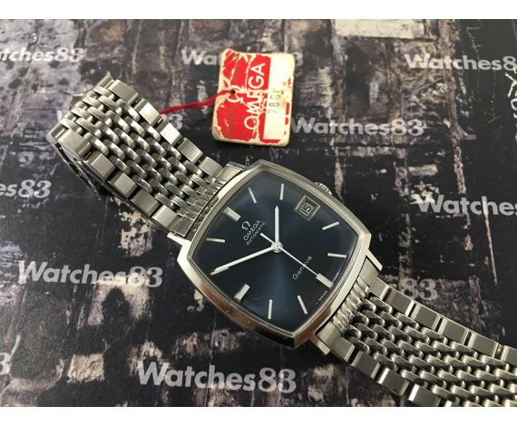 Omega reloj suizo antiguo automático cuadrado azul *** NOS New Old Stock ***