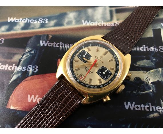 Cauny Cal Valjoux 7734 Vintage swiss manual winding watch chronograph *** Oversize ***