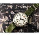Reloj suizo antiguo militar de trinchera dial de porcelana