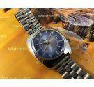 Vintage swiss watch Valgine Wrist Alarm manual winding 17 rubis Dial Blue