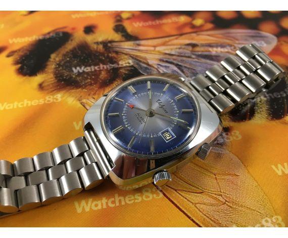 Valgine antiguo reloj alarma suizo de cuerda 17 rubis dial azul Despertador