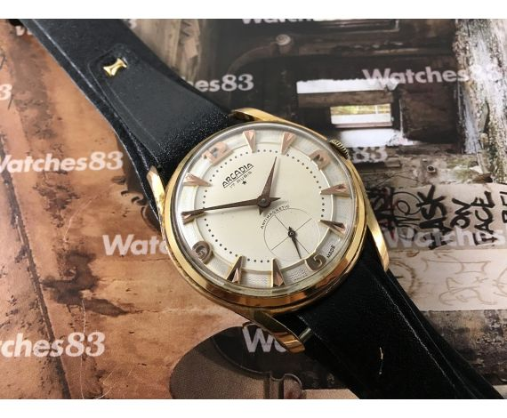 ARCADIA vintage swiss hand wind watch plaqué OR OVERSIZE 17 Rubis *** COLLECTORS ***