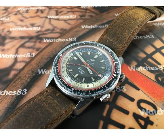 ENICAR Sherpa 600 Guide Compressor Diver GMT vintage swiss automatic watch *** Spectacular ***