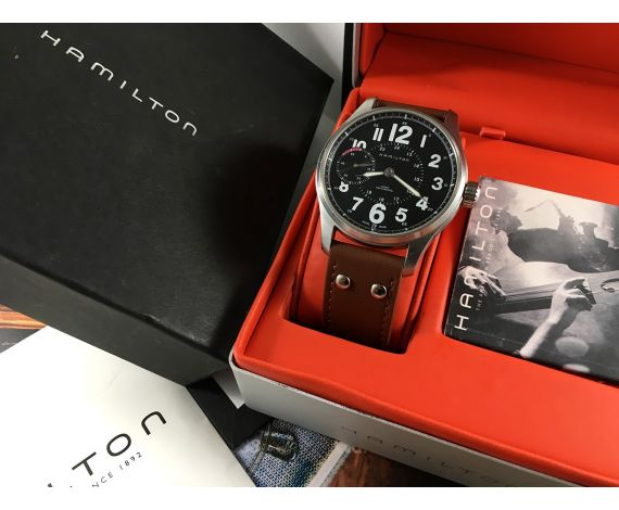 Hamilton Khaki Mechanical Reloj de cuerda Oversize Black 44mm *** Estuche original ***