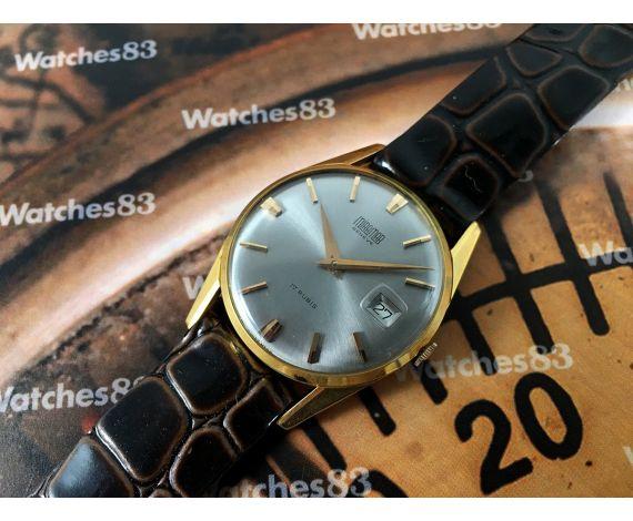 Miramar Genève Date NOS Reloj suizo antiguo de cuerda 17 rubis *** Nuevo de antiguo Stock ***