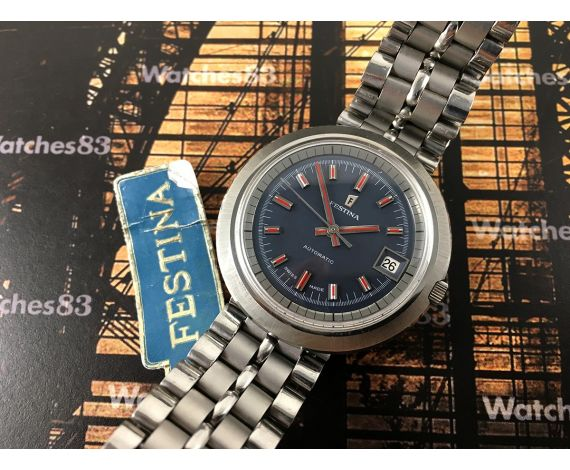 Festina NOS automatic vintage watch blue dial SPECTACULAR *** New Old Stock ***