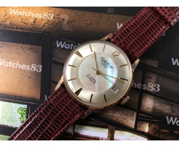 Cristal Watch Automatic Rotor Reloj suizo antiguo automático *** Esfera nacarada preciosa ***