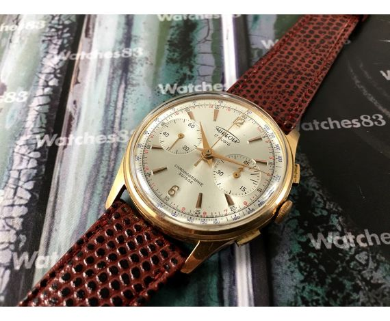 AUREOLE Reloj cronógrafo antiguo suizo de cuerda plaqué OR *** ESPECTACULAR ***