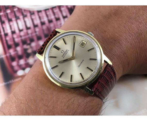 Omega Genève Reloj suizo antiguo automático Cal. 1012 Ref 1660163 Plaqué OR 20 microns + ESTUCHE