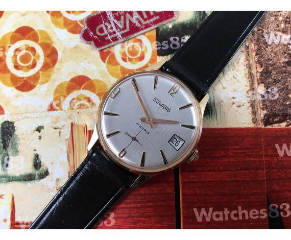 Reloj Duward NOS suizo antiguo de cuerda 17 rubis Plaqué OR *** Nuevo de antiguo Stock ***