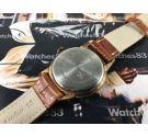 CAUNY Reloj suizo antiguo de cuerda bañado en oro Gran diámetro!!