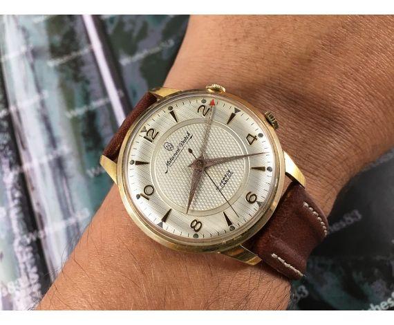 Reloj Alarma suizo National Watch antiguo de cuerda bañado en oro OVERSIZE