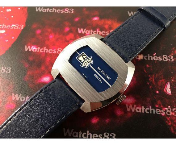 MAJESTIME DIGITAL Reloj Salto de Hora suizo antiguo de cuerda Nuevo de antiguo Stock *** N.O.S. ***