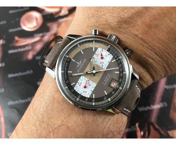 Dugena Reloj cronografo antiguo de cuerda Cal Valjoux 7734 *** Casi NOS ***