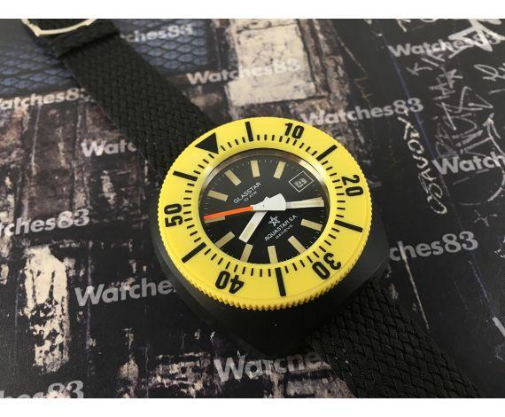 Aquastar SA Genève Glasstar 10 ATM Vintage swiss automatic watch Yellow Diver *** COLLECTORS ***