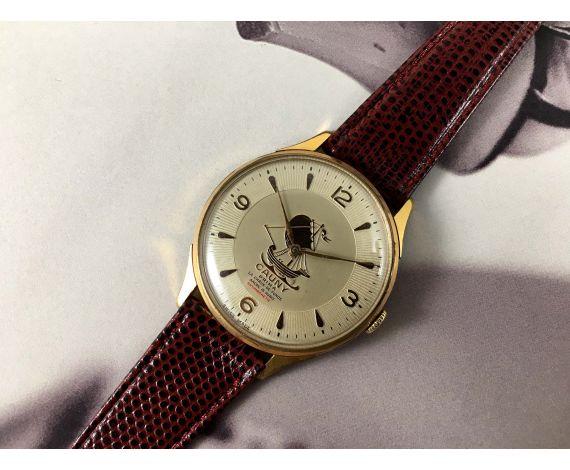 CAUNY CARAVELA Prima La Chaux-de-Fonds Reloj suizo antiguo de cuerda bañado en oro Gran Diámetro 40 mm *** COLECCIONISTAS ***