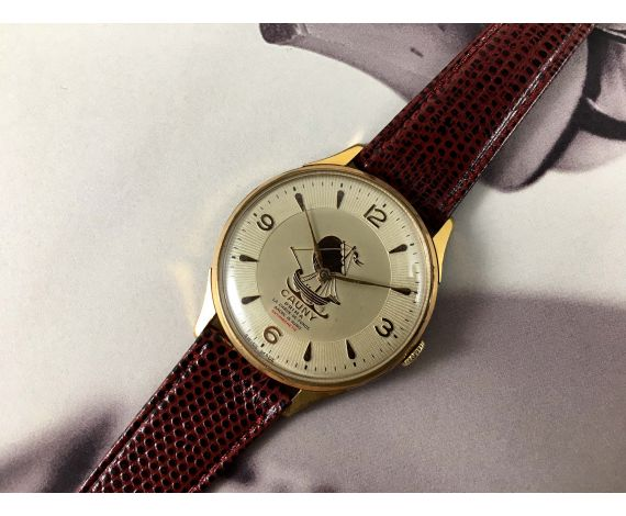 CAUNY CARAVELA Prima La Chaux-de-Fonds Vintage swiss hand wind watch Plaqué OR OVERSIZE 40mm *** COLLECTORS ***