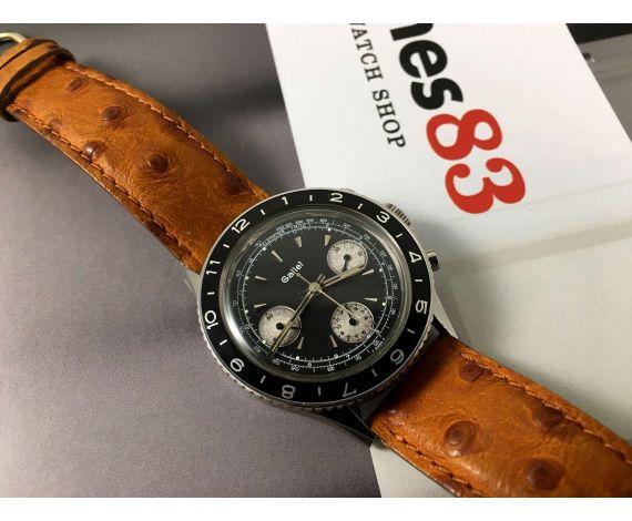 Gallet MultiChron Pilot Reloj cronógrafo antiguo de cuerda Cal Valjoux 7736 Dial Panda reverso *** COLECCIONISTAS ***