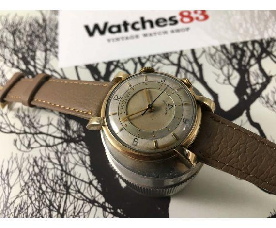 Jaeger LeCoultre Wrist Alarm Pre MEMOVOX Reloj Alarma suizo antiguo de cuerda plaqué OR Cal 489 *** ESPECTACULAR ***