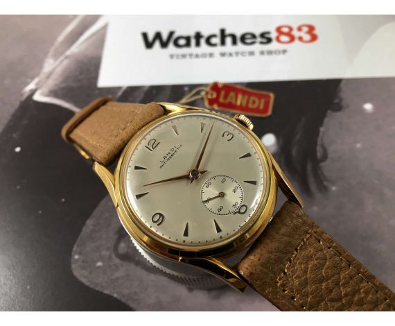 NOS LANDI Antimagnetic Plaqué OR Reloj suizo vintage de cuerda OVERSIZE  *** NUEVO DE ANTIGUO STOCK ***