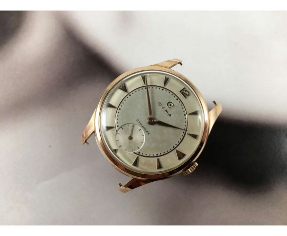 CYMA Swiss vintage manual winding watch Cal 586K Gold 18K 0.750 OVERSIZE *** WONDERFUL ***
