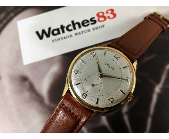 NOS Reloj texturado KARDEX suizo vintage de cuerda OVERSIZE Plaqué OR *** NUEVO DE ANTIGUO STOCK ***