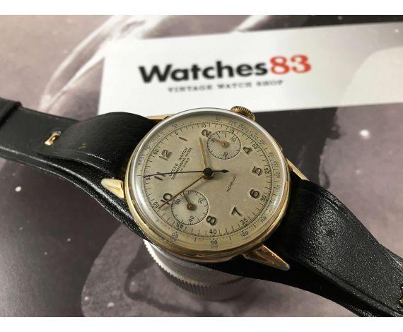 LYCKE WATCH Chronographe Suisse Reloj Vintage suizo cronógrafo de cuerda Cal Valjoux 22 *** PRECIOSA PÁTINA ***