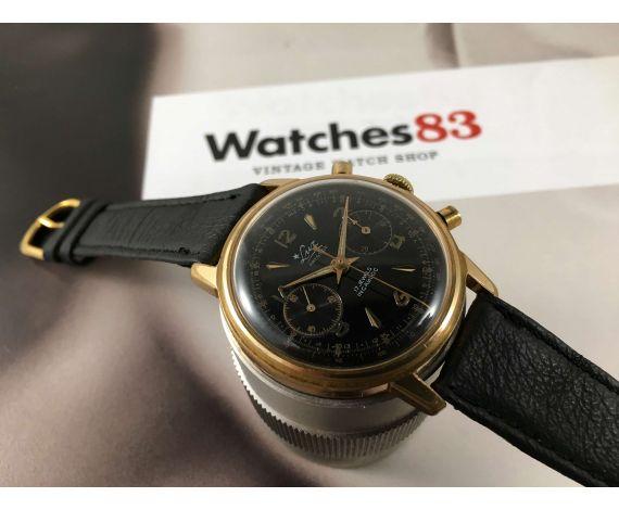 LUZ Reloj cronógrafo vintage suizo de cuerda Plaqué OR Cal Landeron 248 Dial Negro *** OVERSIZE ***