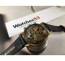 LUZ Vintage chronograph swiss hand winding watch Cal Landeron 248 Plaqué OR Black Dial *** OVERSIZE ***