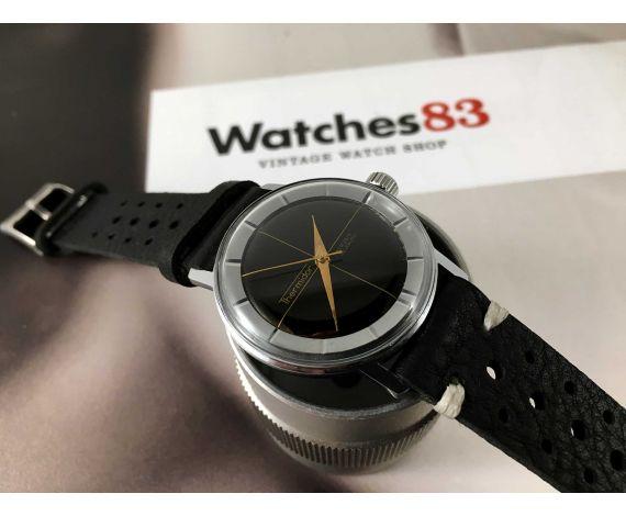 Reloj Thermidor suizo antiguo de cuerda dial negro Cal. ETA 2390 *** ESTILO POLEROUTER ***
