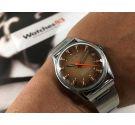 Sully Special Reloj suizo antiguo de cuerda NOS 17 jewels Dial marrón y naranja *** NUEVO DE ANTIGUO STOCK ***