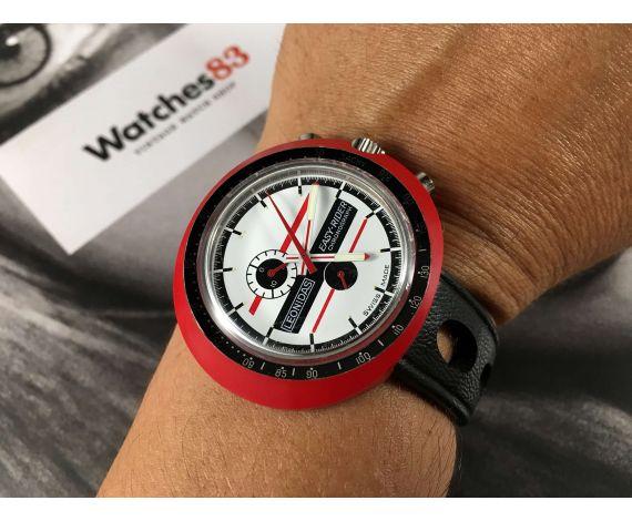 HEUER LEONIDAS Easy Rider Reloj cronógrafo antiguo de cuerda 1974 OVERSIZE *** DOCUMENTACIÓN ***