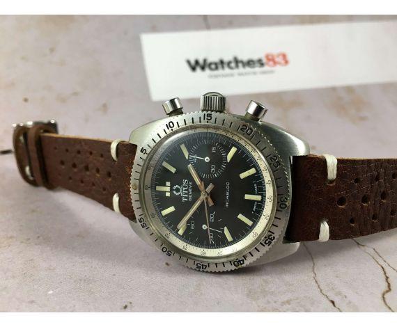 TITUS Reloj cronógrafo vintage suizo antiguo de cuerda 20 ATM Cal. Valjoux 7733 Ref 8765 *** DIVER ***