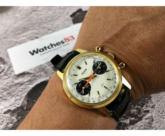 ELGIN Reloj Vintage cronógrafo de cuerda Cal. Valjoux 7733 *** DIAL PANDA ***