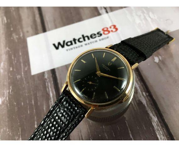 Universal Geneve Oro 18K 0,750 Cal UG 330 Reloj antiguo de cuerda Dial negro *** COLECCIONISTAS ***