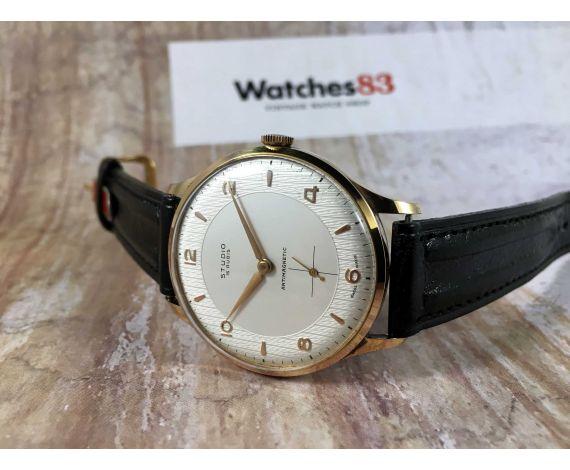 N.O.S. STUDIO (VULCAIN) Reloj vintage suizo de cuerda Cal. Vulcain 590 Gran diámetro Plaque OR *** NUEVO DE ANTIGUO STOCK ***