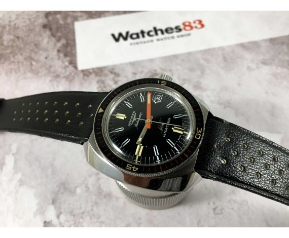 LONGINES ULTRA-CHRON Swiss vintage automatic watch DIVER Cal. 431 Bakelite bezel 36000 A/h *** ALMOST NOS ***
