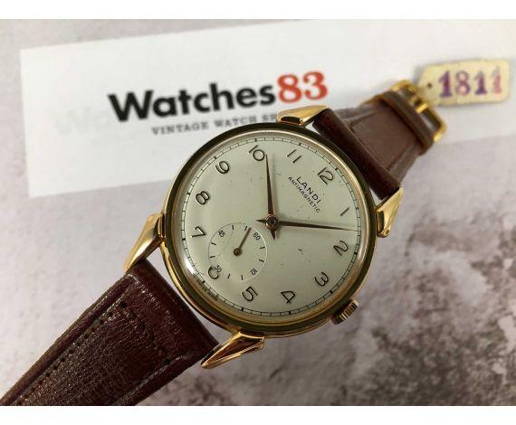 NOS LANDI Antimagnetic Plaqué OR Reloj suizo vintage de cuerda GRAN DIÁMETRO Cal. AS 1130 *** NUEVO DE ANTIGUO STOCK ***